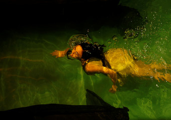 """An actress from Unifaun Theatre takes part in an adaption of Roman poet Ovid's """"Metamorphoses"""" during the Malta International Arts Festival at Fort St Elmo in Valletta"""