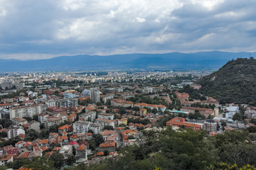 Amazing Panoramic view of city of Plovdiv from Bunardzhik tepe hill (hill of libertadors), Bulgaria