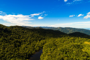 Aerial View of Mountains in Rainforest