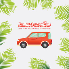 Cute flat design style travel SUV and Retro Classic typography