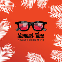 Summer holiday vacation concept, Sunglasses and Calligraphy vector flat illustration