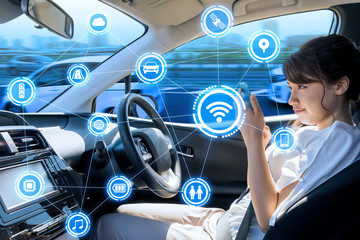 car interior and wireless communication network. Internet of Things. Information Communication Technology. abstract concept. right hand drive.