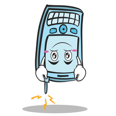 Upside down face phone character cartoon style