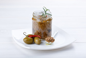 Tapenade – spicy olive paste made from green olives and red hot chili pepper