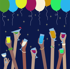 Hands with drinks of alcohol in glasses celebrate at Party - balloons above
