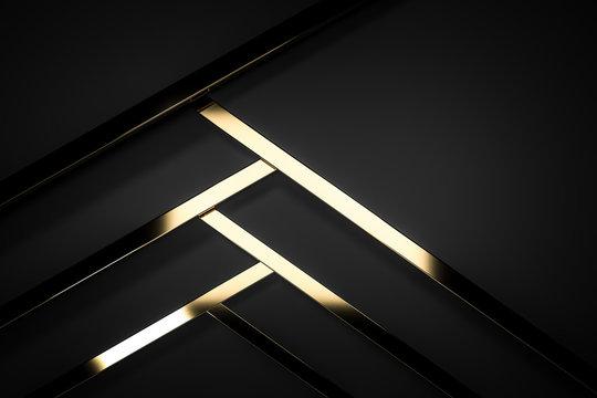 abstract dark black gold luxury background 3d render