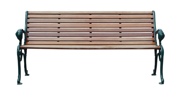wood bench isolate with clipping path on white background