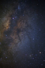 The center of milky way galaxy. Long exposure photograph.with grain