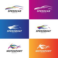 Speed Car, Boat, Moto Logo Set