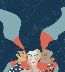 Illustration of concept of quiet Mind