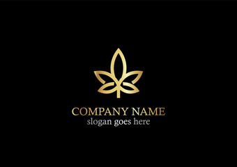 gold cannabis leaf logo