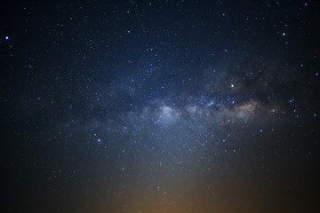 Starry night milky way astronomy. Long exposure photograph.with grain