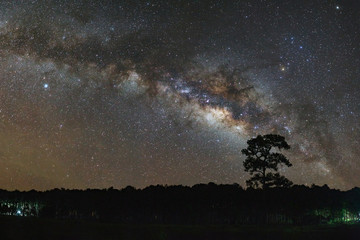 Panorama milky way galaxy with stars and space dust in the universe, Long exposure photograph, with grain.