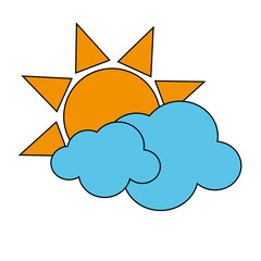 sun with clouds icon image