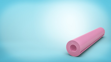 3d rendering of a pink rubber yoga mat closed and rolled up for storage lying on blue background.