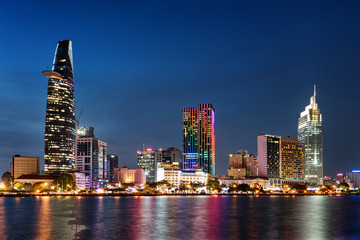 Ho Chi Minh City skyline at night. Amazing cityscape