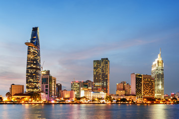 Aluminium Prints Asian Famous Place Ho Chi Minh City skyline at sunset. Scenic cityscape