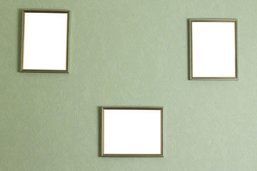 Picture frames on the wall. Mockup.