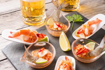 Seafood cocktail  prawn in spicy seafood dip