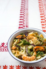 Italian pasta  with seafood. Mussels; Prawns