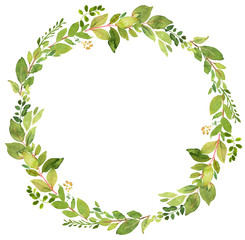Green wreath watercolor decoration