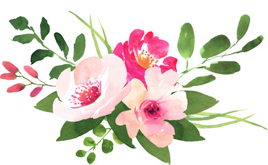 Floral wedding bouquet with roses. Watercolor illustration