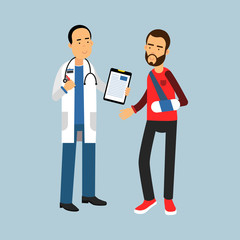 Male doctor giving recommendations to the patient with a broken arm, vector Illustration