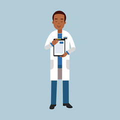 Male doctor character in uniform standing and showing notepad with medical report or prescription, medical care vector Illustration