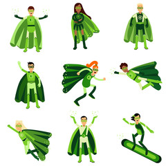 Young people in green eco superheroes costumes set of vector Illustrations