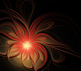 Abstract fractal flower on a black background