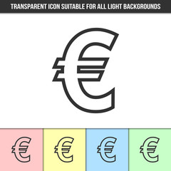 Simple outline transparent euro sign icon on different types of light backgrounds
