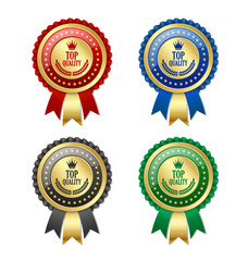 Set of golden and colorful top quality rosettes placed on white background
