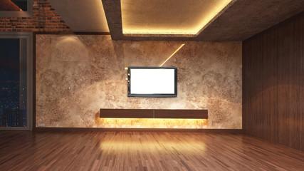 Loft Empty Room, 3d render interior design, mock up illustration