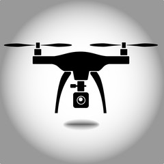 rc drone quadcopter with camera black symbol vector eps 10