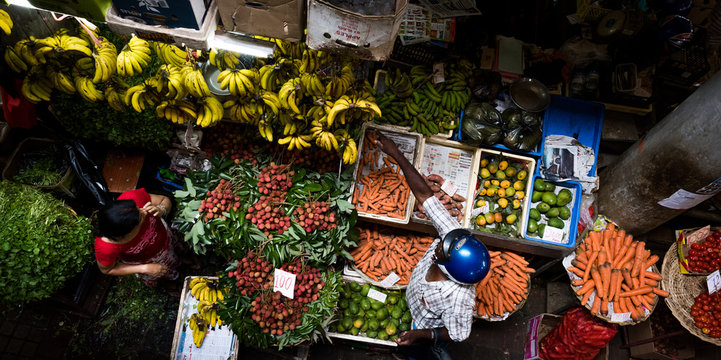 View of market stall.