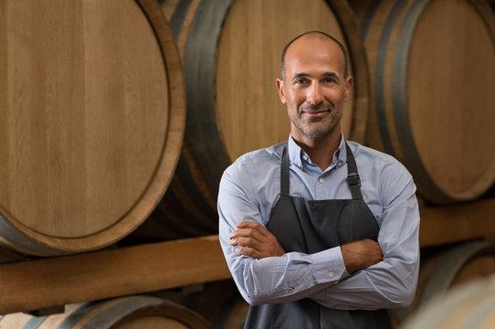 Winemaker in cellar