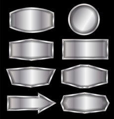 Vector metal sign isolated on black background