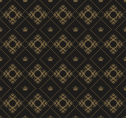 Seamless Damask Wallpaper. Background image. Vintage style. Dark color. Texture wallpaper. Vector image