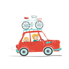 Dad and son travelling by car with bicycle