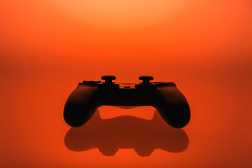 Vivid red display of a game controller or joystick