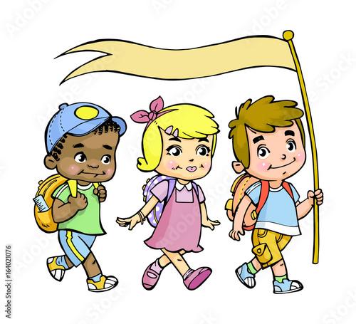 simpatica illustrazione a colori raffigurante bambini che ...