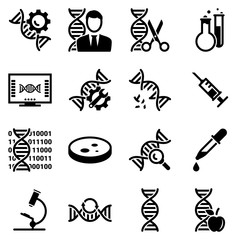 Set of simple icons on a theme Genetics, medicine, research, vector, design, collection, flat, sign, symbol,element, object, illustration. Black icons isolated against white background