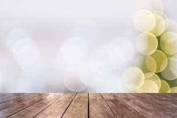 Wooden ground with bokeh blurred circle light