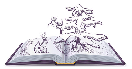 Fox and Crow story. Open book fable illustration