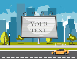 Large blank urban billboard with copy space text
