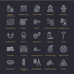 Firefighting, fire safety equipment flat line icons. Firefighter, fire engine extinguisher, smoke detector, house, danger signs, firehose. Flame protection thin linear pictogram.