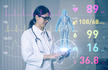 hispanic woman doctor and medical technology. Internet of Things. 3D rendering.