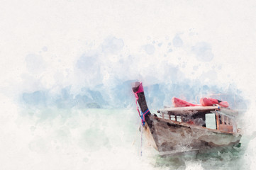 Thai style fishing boat with water paint or aquarelle effect