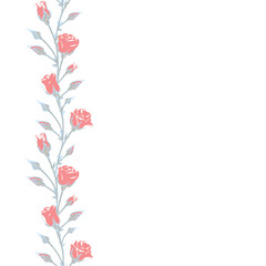 Red roses. Bouquet of roses. Vertical floral pattern. Blue leaves. seamless background. Buds.
