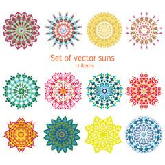 Colorful Ornamental Decorative Summer Suns Set